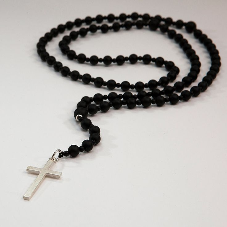 Rosary from Black mat Onyx, small stones of Black Onyx and mat silver Cross- Price: 60.00€