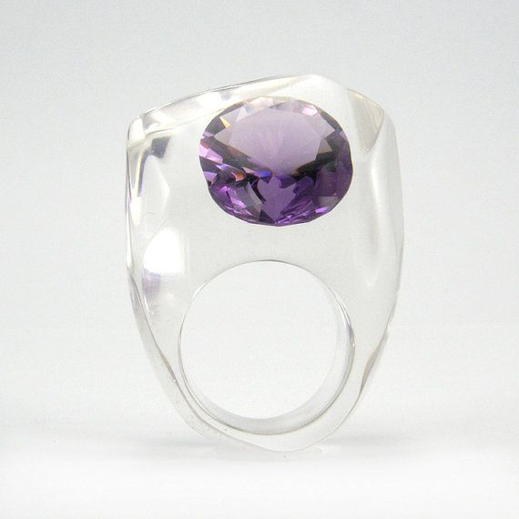Clear resin ring with large Zirconia Tanzanite by sisicata on Etsy