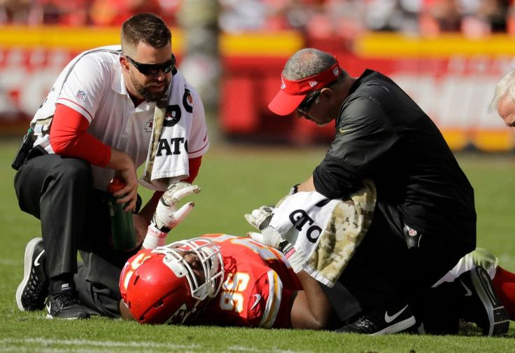 Jaguars vs. Chiefs  -  19-14, Chiefs  -  November 6, 2016  -    Trainers look after Kansas City Chiefs defensive lineman Chris Jones (95) who lies injured on the field during the first half of an NFL football game against the Jacksonville Jaguars in Kansas City, Mo., Sunday, Nov. 6, 2016.