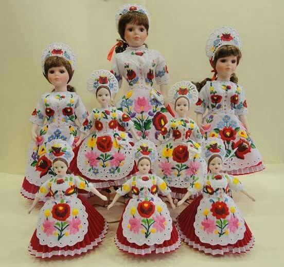 "porcelain dolls in traditional ""kalocsai"" attire"