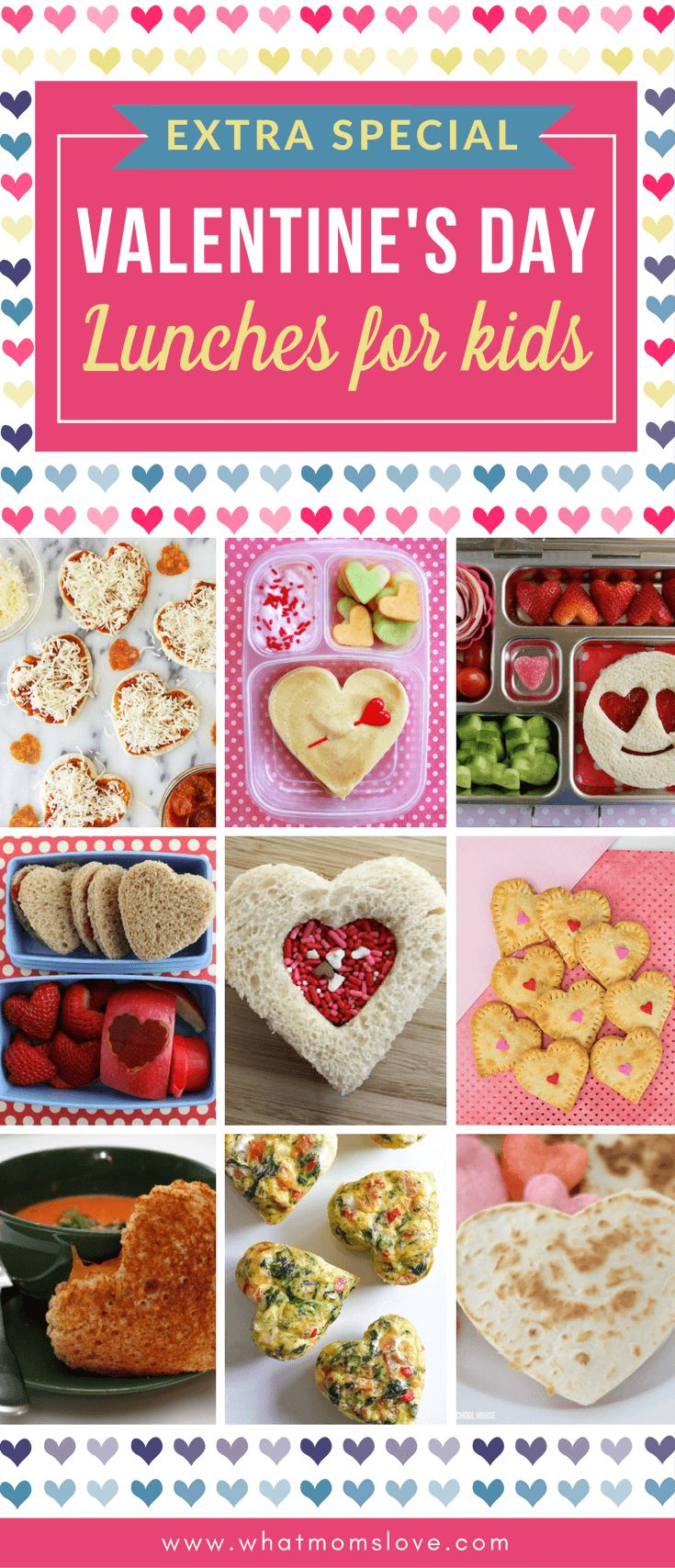 Valentines Day Lunch Ideas for Kids | Fun, simple recipes for mom or dad to make for children using cookie cutters and plenty of heart shapes. Cute bento box ideas for Valentines Day too!