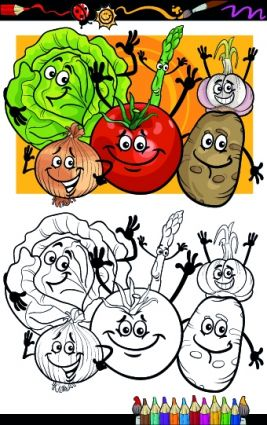 funny cartoon vegetables vector