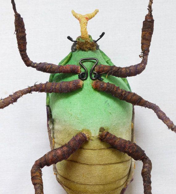 Fabric sculpture Flanboyant flower beetle textile by irohandbags