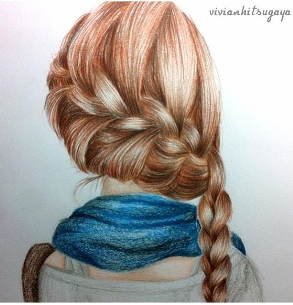beautiful drawn dutch braid artsy