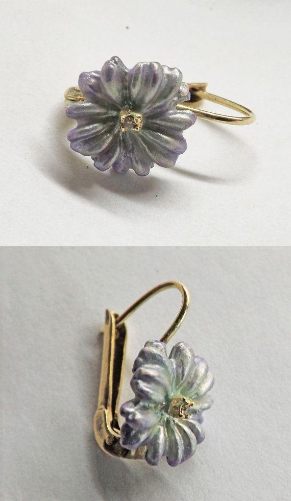 FLOWERS Earrings in 14 k Yellow Gold Sterling by BonTonJoyaux