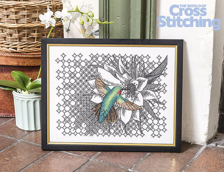 Exotic hummingbird - cross stitch-blackwork project. Exclusively by Ajisai Press! This breath-taking design is only in the new issue 231 of The World of Cross Stitching magazine