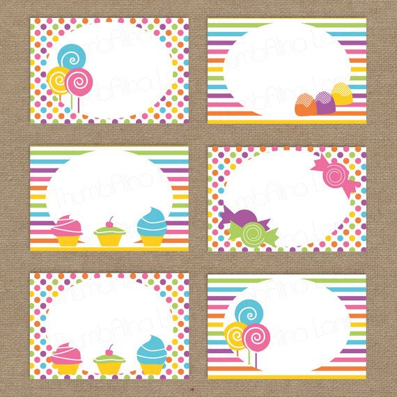 Sweet Shop Candy Land Printable Folding Buffet Cards