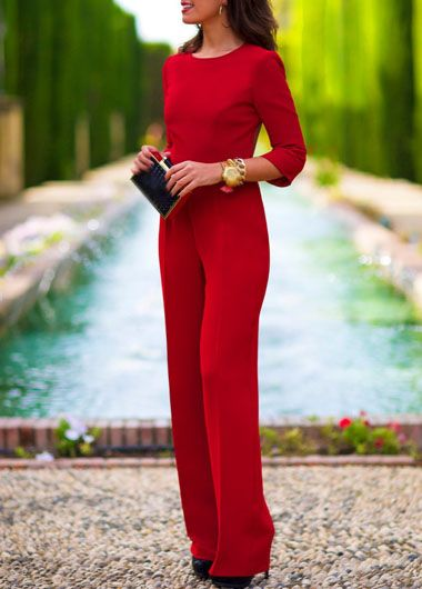 Free Shipping Red Three Quarter Sleeve Open Back Straight Jumpsuit on Luulla