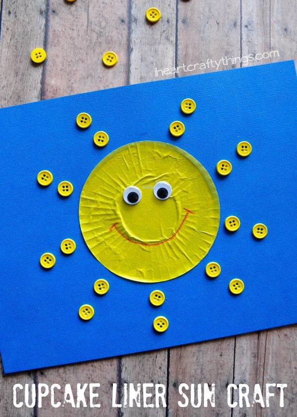 Fun and simple Cupcake Liner Sun Craft for Kids. Great summer kids craft.