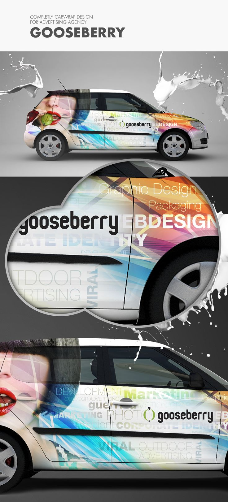 Carwrap design for Gooseberry  #gooseberry #advertising #car #wrap #carwrap #logotype #brand #identity  For complet project visit: https://www.behance.net/bizzonstudio  Coming soon: http://bizzon.sk/