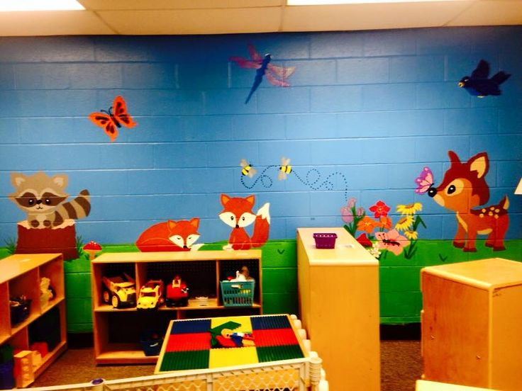wall mural we painted on our classroom wall preschool