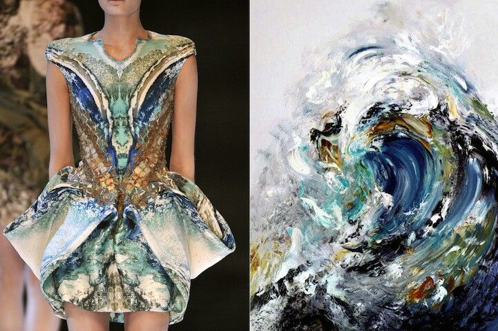 Dress inspire by painting of wave