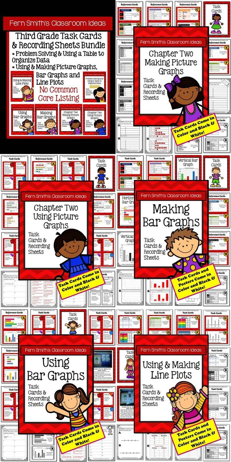 ** 50% Off for the First Two Days! ** Task Cards and Answer Sheets Bundle for Third Grade - Tables, Picture Graphs, Bar Graphs and Line Plots with No Common Core Listings An Additional Resource for Third Grade, Go Math, Chapter Two, Graphing #TPT $Paid #NoCommonCore