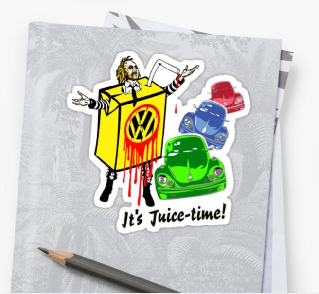 Sold!!! -- 'Beetle-juice' - Sticker - Thank you to the buyer of this Pop Art/mashup design from the Redbubble webstore. #redbubble #redbubblestickers #beetlejuice #vw #vwbeetle #popart #popculture #movies #tv #cars #blood #icons #volkswagen #herbie #lovebug #straw #carton #motoroil #acid #ghosts #colorful #stickers