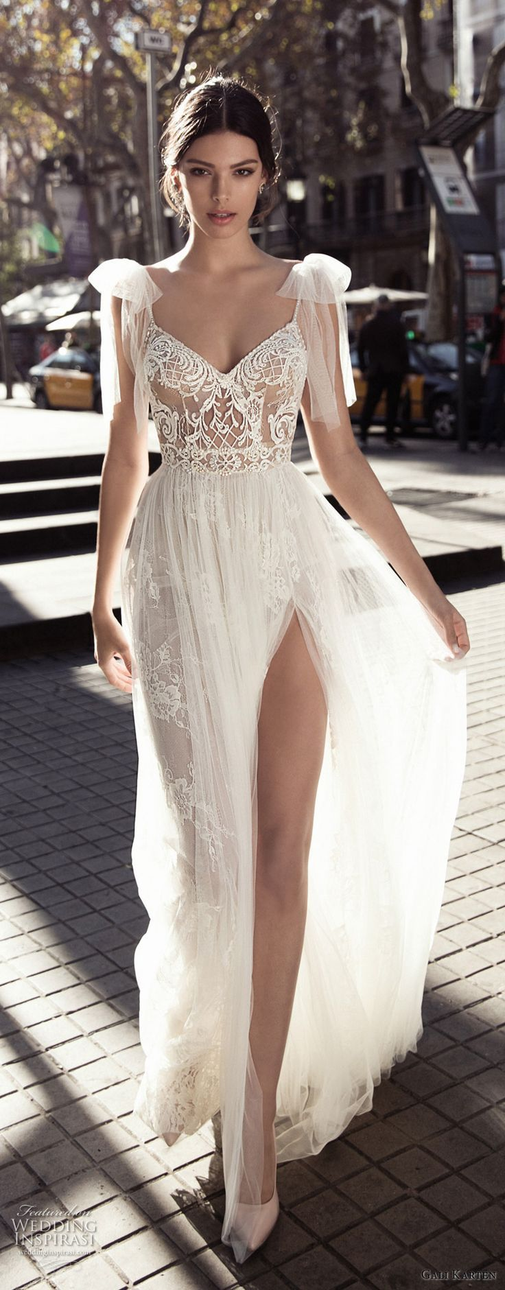 gali karten 2017 bridal cap sleeves thin strap sweetheart neckline heavily embel…