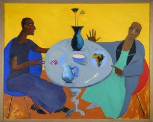 Five, by Lubaina Himid, 1991, acrylic on canvas. Two females sitting at table.
