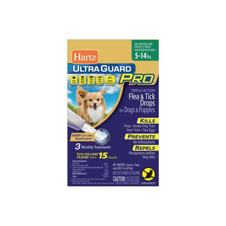 Hartz UltraGuard Pro Flea and Tick Treatment Drops for Dogs and Puppies - 5 to 14lb - 3ct