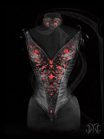 Overbust corset with straps, featuring a gothic styled ornamentation and red satin inlay
