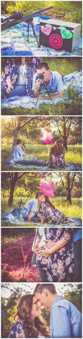 Our gender reveal!  We used 4 pounds of tannerite and 15 pounds of red construction chalk. The actual explosion turned out orange but our photographer photoshopped it to look pink. Admyer Studios http://www.admyerstudios.com/