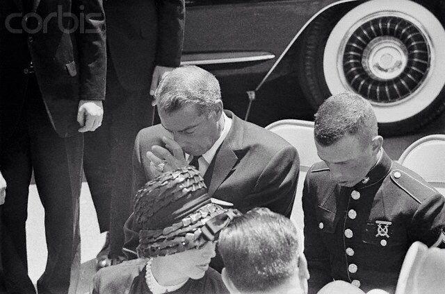 Joe Di Maggio & his son at Marilyn Monroe's Funeral 8-8-62