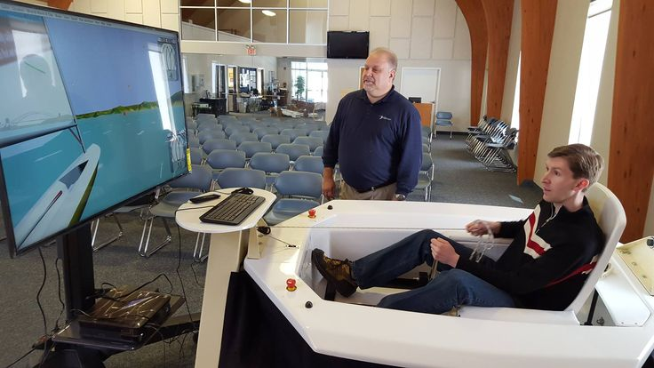 Thanks to the generous donation of a high tech TV stand by Ergotron, the Virtual Adaptive Sailing Simulator is now fully equipped and ready to be launched. Dick Mast from Ergotron assembled the TV stand and mounted the TV for the simulator