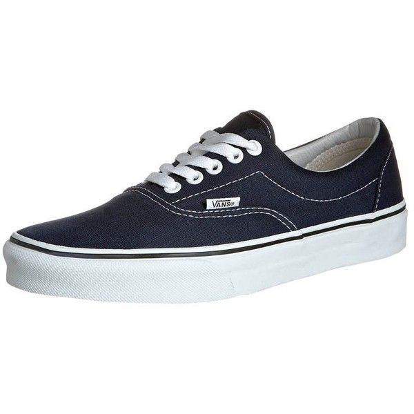 Vans ERA Trainers navy ($71) ❤ liked on Polyvore featuring women's fashion, shoes, dark blue, dark navy blue shoes, navy flat shoes, navy blue shoes, vans shoes and navy shoes