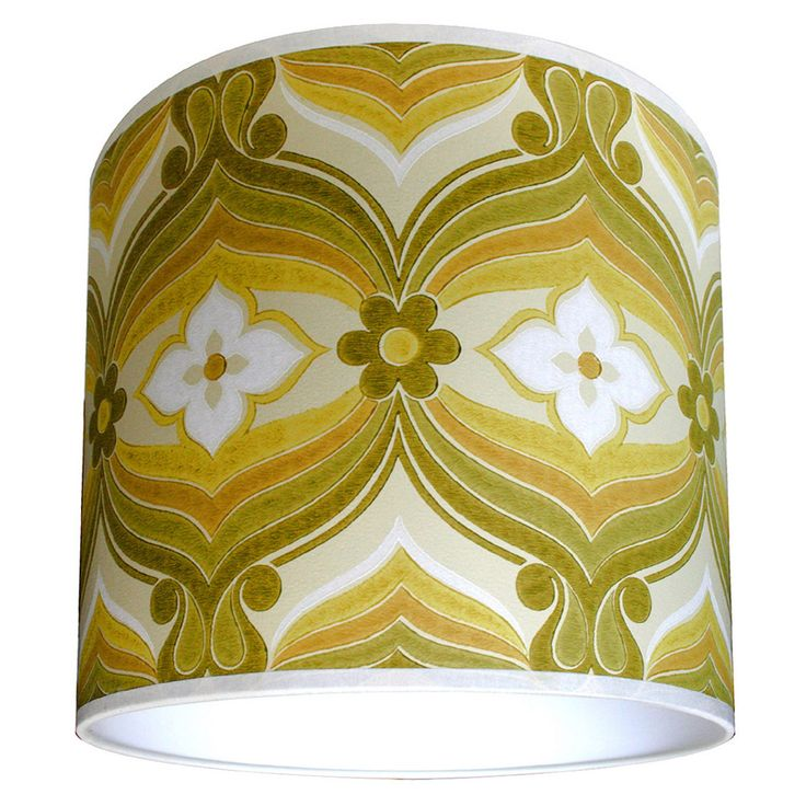 Geometric vintage wallpaper lampshades in olive green