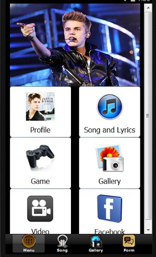 This is an application that contains information about Justin Bieber. You can access all of the activities Justin Bieber in this application. Through this application , you can easily access all Justin Bieber social media in one place.<p>The application features :<br> <br>- Profile Justin Bieber<br>- Justin Bieber Song<br>- Justin Bieber Lyrics<br>- Justin Bieber Photo Gallery<br>- Justin Bieber Game<br>- Justin Bieber Puzzle<br>- Justin Bieber Wallpaper<br>- Justin Bieber Mp3<br>- Justin…