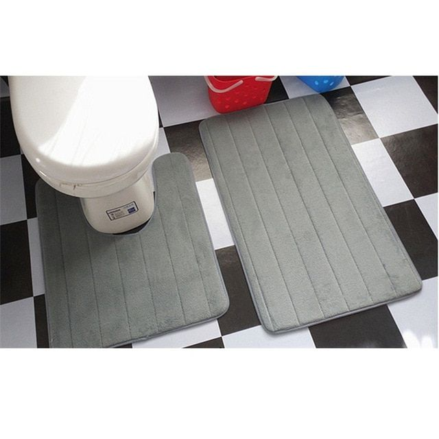 2 Pcs Simple Bathroom Mat Set U Shape Bathroom Carpet Toilet Rugs
