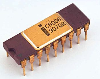Intel's 8008 CPU Celebrates 40th Anniversary.  8-bit microprocessor successor to Intel's 4004 4-bit uP.  I worked at an electronics jobber and got them to bring one of these in for me.  I wish I'd actually built a microcomputer with it...  I think I still have it around here somewhere :-)