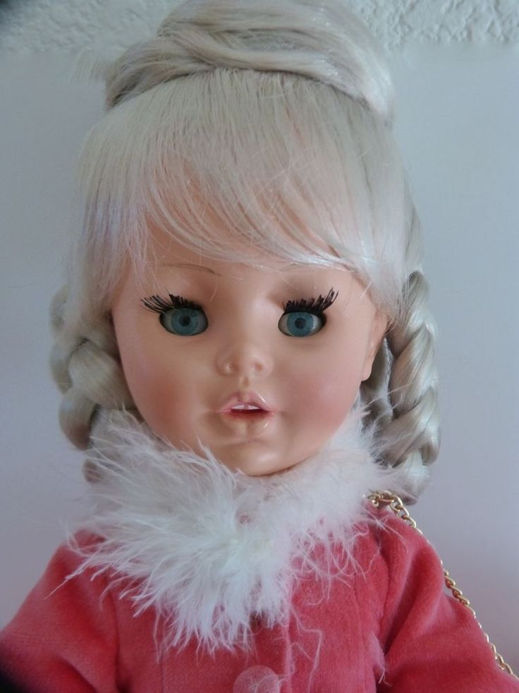 "I love these Furga dolls. Beautiful, elaborate hairstyle on this one. Vintage 60's 15"" Platinum Blonde Alta Moda? Rooted Lashes Italy  #Dolls"