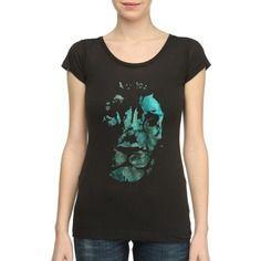 Lion electric : t-shirt noir pour femme original & unique 100% fait-main