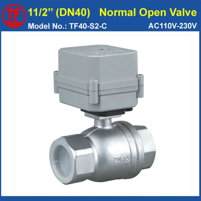 Stainless Steel 1 1 2 Dn40 Normally Open Electric Ball Valve Ac110v 230v 2 Wires 2 Way Full Port For Water Control System Electric Water Valve Water Valves