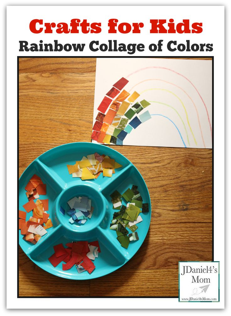 Crafts for Kids-Rainbow Collage of Colors Search magazines for rainbow colors to build a rainbow.