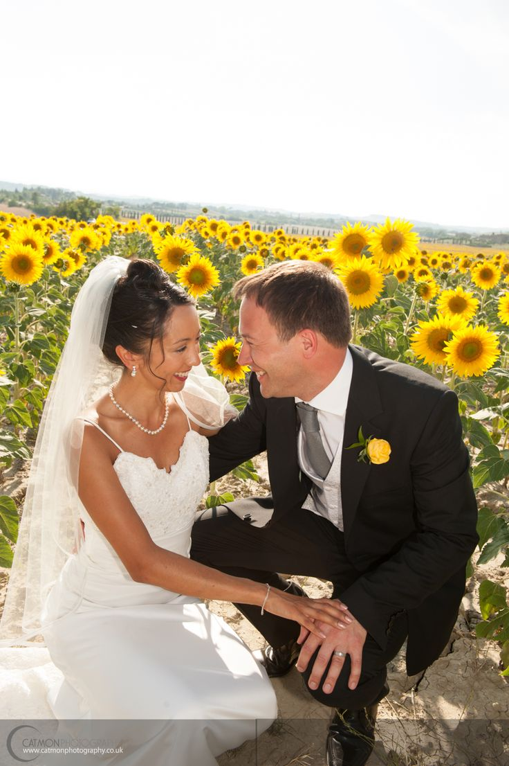 Destination Wedding @ The Lazy Olive in July. Every month is Tuscany, the scenery is different. Love the sunflower fields. Both bride & groom are English.