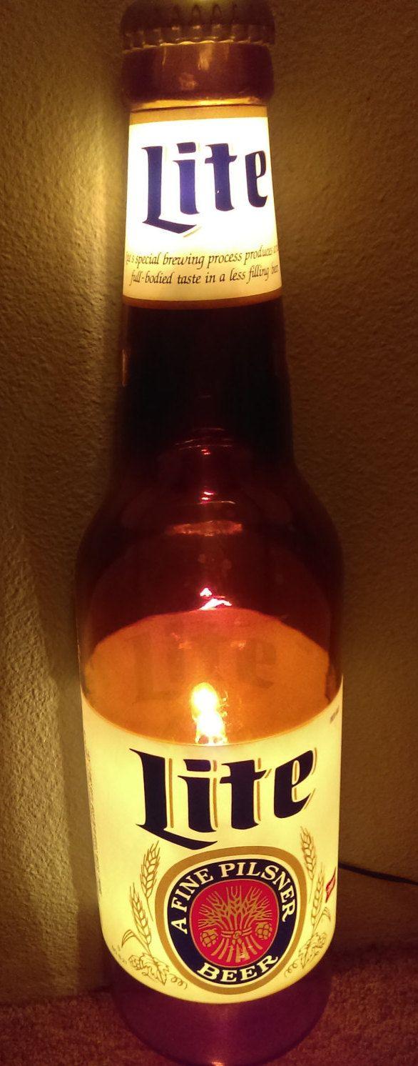 """Rare Miller Lite beer bottle light sign! """"Lite A Fine Pilsner Beer"""" by RedsVintage on Etsy"""