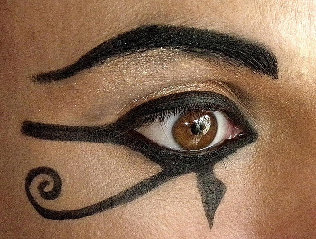 The Cleopatra eyeliner look taken to its logical conclusion...
