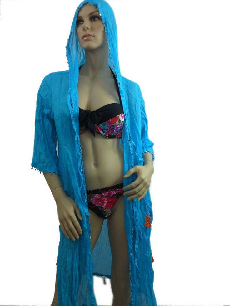 COTTON Kimono Hoodie Blue Beach Dress Swimsuit Cover Up Dress  www.scarfclub.net