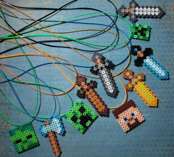 Minecraft Inspired 10 Hand Made Birthday Party Favor\u2026 – Minecraft Inspired Necklaces. Looks Like A Good Rainy Day Craft For My Minecraft-obsessed Children. Already Have The Perler Beads - Click for More...