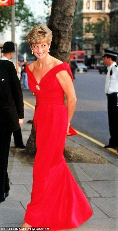 Diana, Princess of Wales, in a red Victor Edelstein dress (1990)