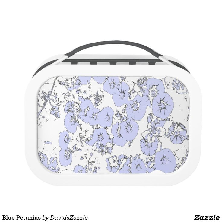 Blue Petunias Lunch Box  Available on more products, type in the name of this design in the search bar on my products page to view them all!  #petunia #floral #flower #black #white #pattern #print #all #over #abstract #plant #nature #earth #life #style #lifestyle #chic #modern #contemporary #home #decor #kitchen #dining #lunch #box #job #work #on #the #go