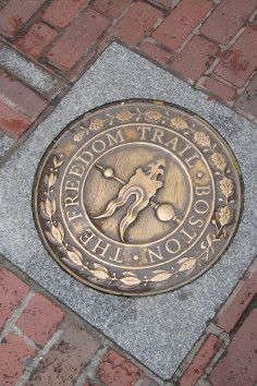 Freedom Trail is a red brick path through downtown Boston, Massachusetts that leads to 17 historical sites.