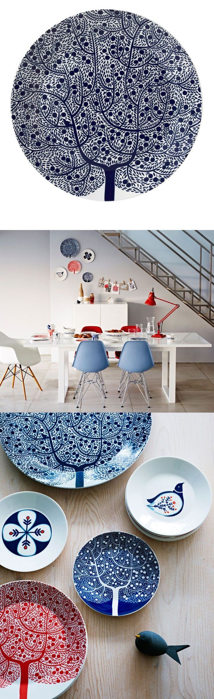 Scandi illustration inspiration for dining ware using the key colours of red, white and blue.