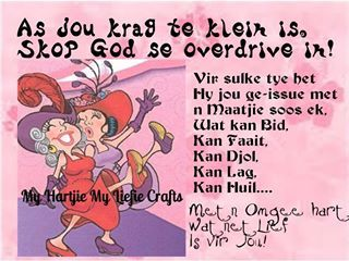 As jou krag te klein is,skop God se overdrive in!