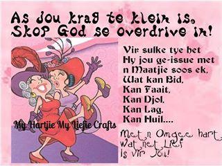 As jou krag te klein is,skop God se overdrive in!