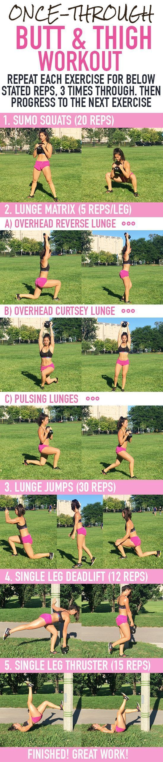 Once Through Butt & Thigh Workout! This workout which includes single leg deadlifts, lunge pulses, sumo squats and more will get your muscles burning! The meaty part of your bum will be feeling this for days! https://www.kettlebellmaniac.com/kettlebell-exercises/