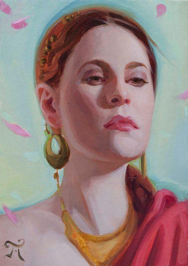 """Empress"" by Athanasios Deshields (oil painting, alla prima, fine art, traditional, portrait, illustration)"