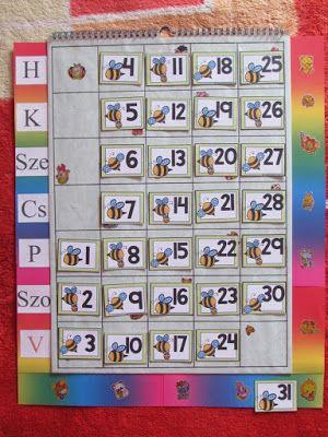 Játékos tanulás és kreativitás: Naptárhoz számkártyák figurákkal