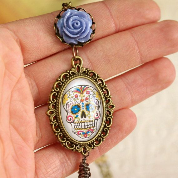 Mexican Sugar Skull Necklace day of the dead pendant by RarityMoon, €18.00
