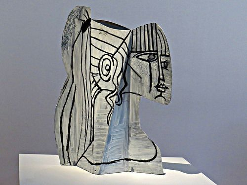 """""""Sylvette"""" (1954), painted sheet metal sculpture by Pablo Picasso (25 October 1881 – 8 April 1973 (91)), Museum of Modern Art, New York City. (CB: Slide two pieces of cereal box cardboard together after painting them.)"""